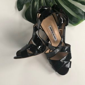 Manolo Blahnik Strappy Patent Leather Sandals